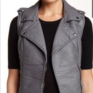 Blanc Noir Pebbled Faux Leather Vest